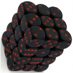 Black & Red Opaque 12mm D6 Dice Block